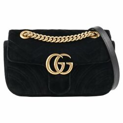 A/w 2016 Gg Marmont Mini Quilted Velvet Flap Top Chain Handle Purse
