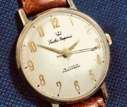 SMITHS Imperial 9K Gold White Dial Hand Winding Vintage Watch 1960's Overhauled