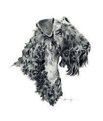 KERRY BLUE TERRIER DOG Pencil Drawing 8 x 10 Art Print by Artist DJ Rogers wCOA
