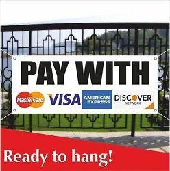 Pay With Banner Vinyl / Mesh Banner Sign Visa Discover Master Card Credit Cards