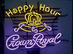 New Happy Hour Crown Royal Beer Bar Neon Light Sign 24x20