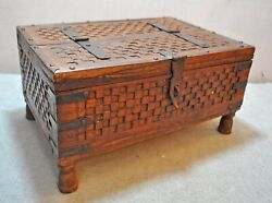 Original Old Vintage Hand Carved Wooden Dowry Chest Travelling Storage Box