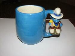 Vintage Child's Mug Cup Smurfs With A Frog In The Bottom Pottery F4