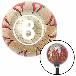 White Ball 8 Clear Flame Metal Flake Shift Knob With M16 X 1.5 Insert Race 427