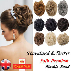 Women Hair Bun Chignon Updo Messy Wavy Hairpiece Extension Natural Real Thick Uk
