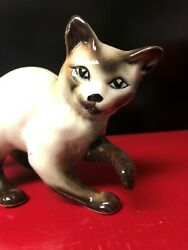 CAT Siamese Cat brown and white porcelain 6quot; x 4quot;