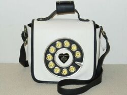 New Betsey Johnson Telephone Headset Crossbody Messenger Faux Leather Cream $29.79