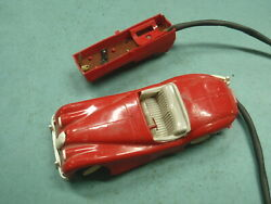 1950's Jaguar Xk120 Battery Operated Toy Cable Plastic Body Parts Car Runs Old