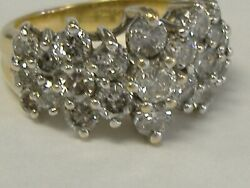 Vintage Solid 14k Gold 2.33ct Tw Natural Diamonds Ring Size 7.25
