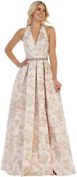 SALE! SPECIAL OCCASION SLEEVELESS BROCADE PROM DRESS FORMAL FLORAL EVENING GOWNS $109.99