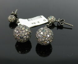 Unique 3.82ct Natural Multi Color Diamond And 14k White Gold Drop Ball Earrings