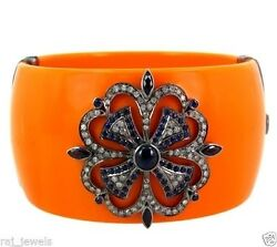 Orange Bakelite 925 Silver Pave Diamond Bangle Sapphire 14k Gold Fashion Jewelry