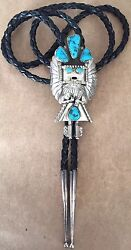 Vintage Kachina Bolo Tie Hopi Indian Native Turquoise Sterling Silver Signed