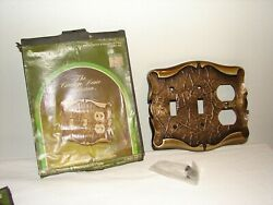 Vintage Amerock Carriage House Antique Brass Double Switch Receptacle Plate Nos