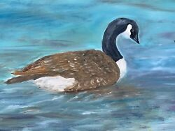 Vintage Oil Painting Canvas Board Canadian Goose On The Lake One Of Kind ❤️sj17j