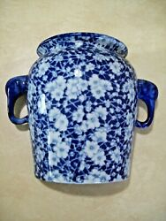 """Blue And White Porcelain Wall Vase Oriental Floral Elephant Head Handles 7"""" Tall"""