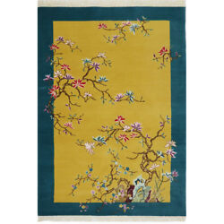 Yilong 4'x6' Ginger Handmade Wool Carpet Chinese Art Decor Hand Knotted Area Rug