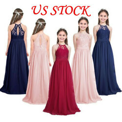 Kid Princess Long Dress Party Maxi Lace Dress for Flower Girl Wedding Bridesmaid