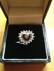 Heart Diamond And Blue Sapphire Cluster Ring Size O Rrp Andpound4625