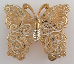 Spectacular Crumrine 22k Gold And Sterling Silver Butterfly Western Belt Buckle