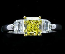 Platinum/18k Gold 3 Stone Mounting For Fancy Color Stone Size - 5.25