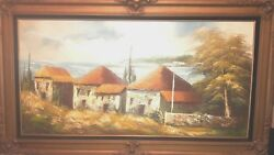 Tuscany Village Italy ? Oil on Canvas Painting Signed DAVIS Paris France Spain?