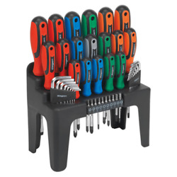 Sealey 44 Pc Screwdriver Hex Key And Bit Set Magnetised Tips In Handy Stand S01090