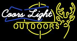 New Coors Light Outdoors Deer Man Cave Neon Sign 32x24 Beer Lamp Light
