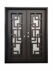Baytown Double Front Entry Wrought Iron Door Frost Glass 72