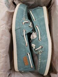 Sperry Coil Ivy Blue Water Canvas Womens Boat Shoes; Color: Blue Size: 6M  set 1