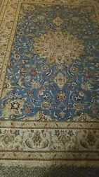 Persian Kashmar Wool Area Rug Hand-knotted Floral Oriental Vintage 8 X 12 Carpet
