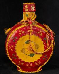 Folk Art Red Leather Covered Decanter Canteen Floral