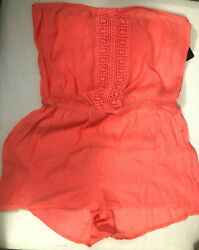 Laundry Shelli Segal Coral Pink Womens Swim Cover Shorts Romper Lace Size Large