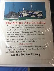 """Original Wwi Ww1 World War One Us Shipping Board Poster """"the Ships Are Coming"""""""