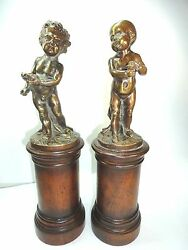 Vintage Cherub Bronze Boy And Girl Pair Of Figurines Infants On Wood Stand