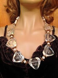 Mid Century Modern Miriam Haskell GENUINE South Sea Pearl Lucite Heart Necklace