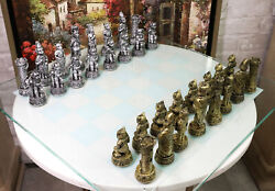 Ebros Cats Versus Dogs Chess Set Resin Character Pieces With Glass Board Set