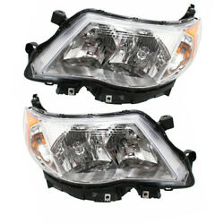 09-13 Forester Front Headlight Headlamp Xenon Head Light Lamp w/Bulb Set Pair