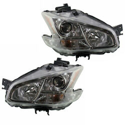 For 09-14 Maxima Front Headlight Headlamp HID/Xenon Head Light w/Bulb Set Pair