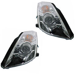 Fits 06-09 350Z Front Headlight Headlamp HID/Xenon Head Light w/Bulb Set Pair