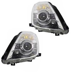 For 06-09 350Z Front Headlight Headlamp HID/Xenon Head Light w/o Bulb Set Pair