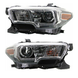 For 16-19 Tacoma Pickup Truck Front Headlight Headlamp W/black Bezel Set Pair