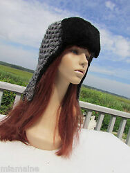 New 495 Knitted Trapper Hat Aviator Lamb Wool Shearling Black Grey Wow