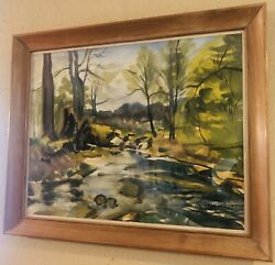 """Extraordinary Original Watercolor Painting By Signe Larson 1958— 27"""" By 22"""" Wow"""