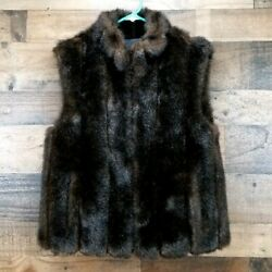 Giacca Women's Small Faux Fur Vest Reversible BrownBlack Sleeveless Jacket Mink