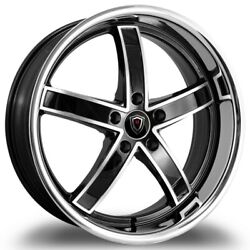 4pcsstaggered Marquee M5330a 22x9/10.5 5x115 +15/20 Silver Polish/stainless Lip