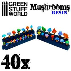 40x Resin Mushrooms And Toadst - 40k Ammo Cartridges Modelling Military Wargames