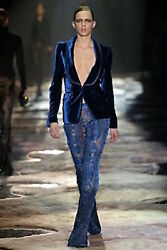 GUCCI TOM FORD RUNWAY Blue Feather Peacock Embroidered Lace Pants with Jacket