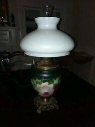 Antique Oil Gwtw Parlor Lamp Green Pink An Red Flower Brass Base Electrified