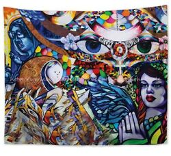 psychedelic trippy wall hanging tapestry dorm room wall decor